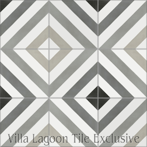 """Diagonal Eight Shades of Gray"" Cement Tile, from Villa Lagoon Tile."