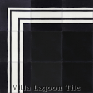 """Francis Stripe Border Black & White"" Cement Tile, from Villa Lagoon Tile."