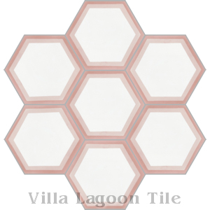 """Hex Halo Two A Mauve Hex"" Cement Tile, from Villa Lagoon Tile."