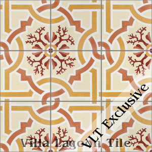 """Italian Trellis A Sunset"" Cement Tile, from Villa Lagoon Tile."