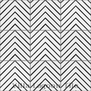 """Labyrinth Black & White Morning"" Cement Tile, from Villa Lagoon Tile."