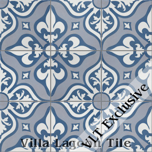 """Lancelot Blue"" Pattern Cement Tile, from Villa Lagoon Tile."
