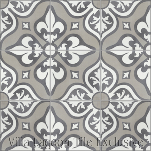 """Lancelot Fog"" Pattern Cement Tile, from Villa Lagoon Tile."