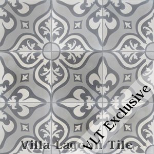 """Lancelot Gray"" Pattern Cement Tile, from Villa Lagoon Tile."