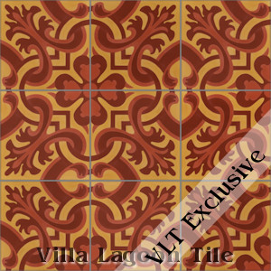 """Madeira Hearts Ablaze"" Cement Tile, from Villa Lagoon Tile, from Villa Lagoon Tile."