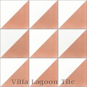 """Man Overboard Coral & White"" Cement Tile, from Villa Lagoon Tile."