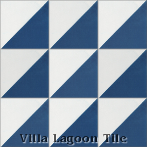 Man Overboard cement tile, in Deep Inlet & White, from Villa Lagoon Tile.