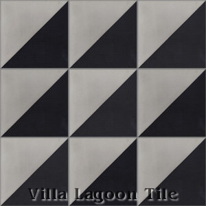 """Man Overboard Featherstone & Black"" Cement Tile, from Villa Lagoon Tile."