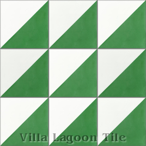 """Man Overboard Green & White"" Cement Tile, from Villa Lagoon Tile."