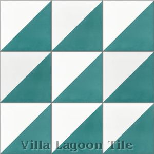 """Man Overboard Teal & White"" Cement Tile, from Villa Lagoon Tile."
