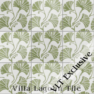 """Mossy Fan Vine"" Cement Tile, from Villa Lagoon Tile"