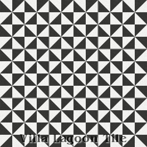 """Pinwheel A Black & White"" Cement Tile, from Villa Lagoon Tile."