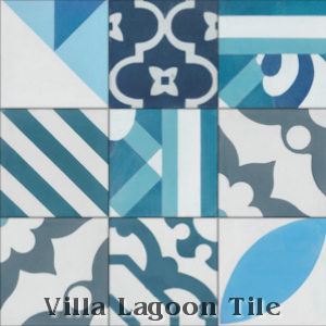 Man Overboard cement tile, in Deep Inlet & Arctic Gray, from Villa Lagoon Tile.