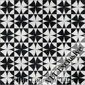 """Rotunda Black & White"" Cement Tile, from Villa Lagoon Tile."