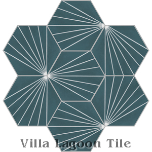 """Spark C Aegean"" Hex Cement Tile, from Villa Lagoon Tile."