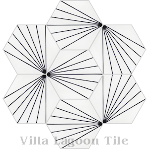 """Spark B Black and White Morning"" Hex Cement Tile, from Villa Lagoon Tile."
