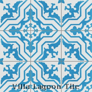 """Talia Azure"" Cement Tile, from Villa Lagoon Tile, from Villa Lagoon Tile."