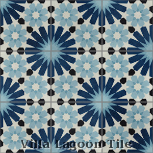 """Tangier Blues"" Cement Tile, from Villa Lagoon Tile."
