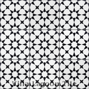 """Taza Black and White Morning"" Cement Tile, from Villa Lagoon Tile."
