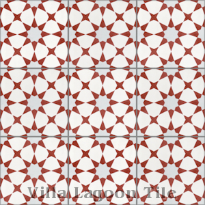 """Taza Red"" Cement Tile, from Villa Lagoon Tile."