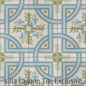 """Trapani Azul Spring"" Cement Tile, from Villa Lagoon Tile, from Villa Lagoon Tile."