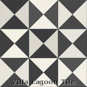 """Tugboat"" Black and White Cement Tile, from Villa Lagoon Tile."