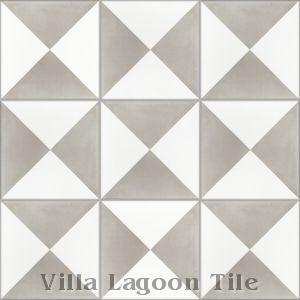 """Tugboat"" Featherstone and White Cement Tile, from Villa Lagoon Tile."