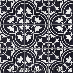 """Tulips B Black & White Evening"" Cement Tile, from Villa Lagoon Tile."