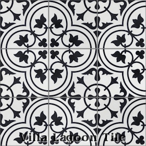 """Tulips B Black & White Morning"" Cement Tile, from Villa Lagoon Tile."