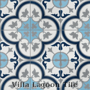 """Tulips B Ice"" Cement Tile, from Villa Lagoon Tile."