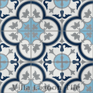 """Tulips B Navy (PS)"" Cement Tile, from Villa Lagoon Tile."