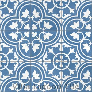 """Tulips B Royal"" Cement Tile, from Villa Lagoon Tile."