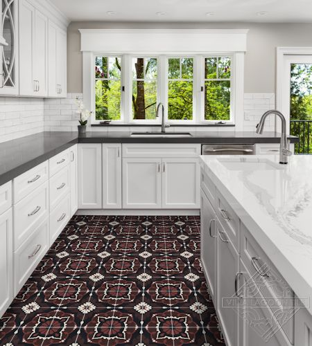 Amalena Burgundy cement tile kitchen floor, by Villa Lagoon Tile.