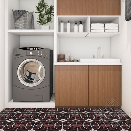 Amalena Burgundy cement tile laundryroom floor, by Villa Lagoon Tile.