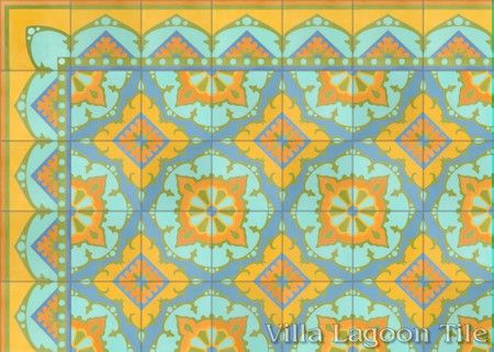 Amalena Sunset cement tile, in a 7x5 layout.
