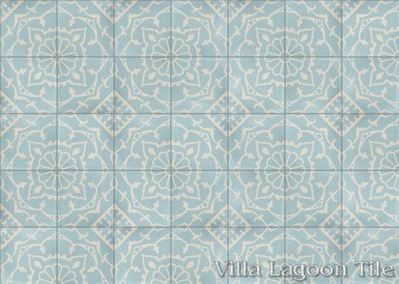 Amalena Velvet Sky cement tile, in a 7x5 layout.