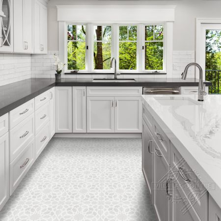 """Andalusia Fog"" cement tile kitchen floor, from Villa Lagoon Tile."