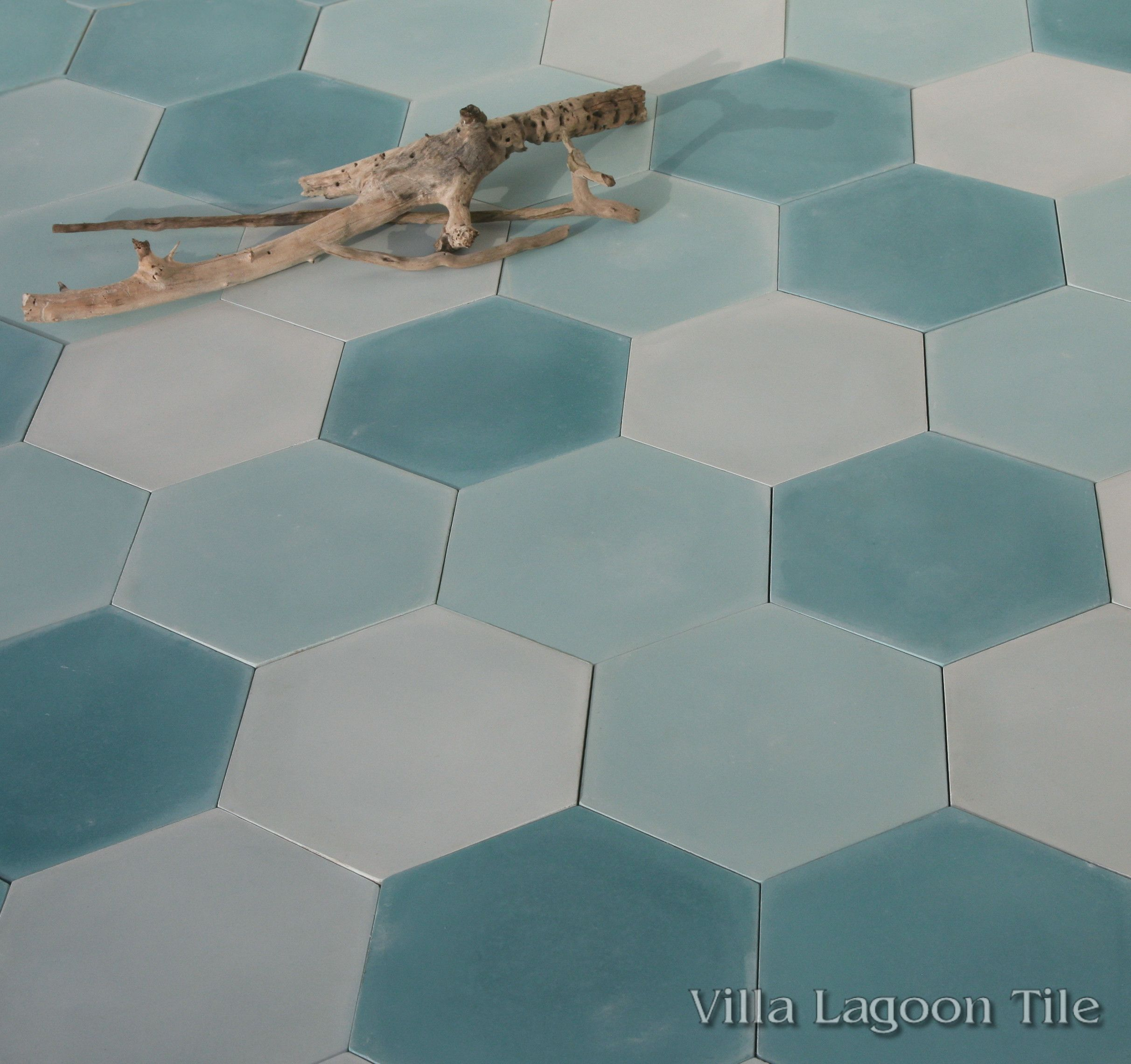 Mixed aqua hex cement tile villa lagoon tile click for larger image dailygadgetfo Images