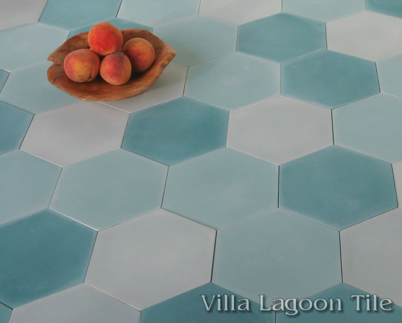 Mixed Aqua Hex Cement Tile Villa Lagoon Tile