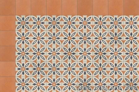 Arthur cement tile with solid copper border, in a 9x6 layout.