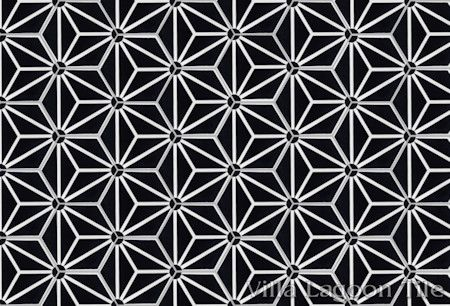 """Atlas A Black and White Evening"" hex cement tile."