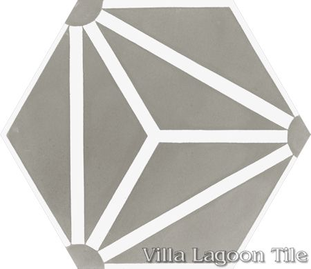 """Atlas A Heron Gray and White"" hex cement tile, from Villa Lagoon Tile."
