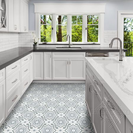 Aztec Sun A Silver cement tile kitchen floor, from Villa Lagoon Tile.