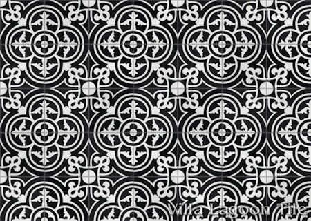 """Caprice Black and White Evening"" Encaustic Cement Tile, from Villa Lagoon Tile."