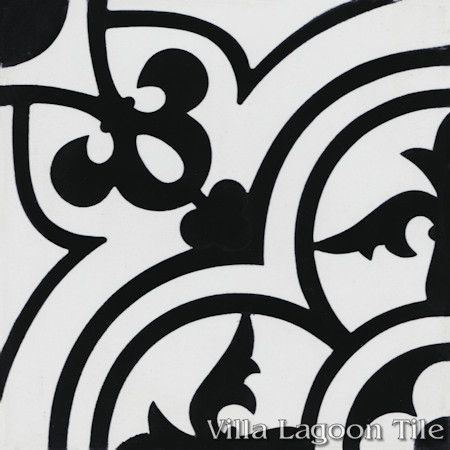 """Caprice Black and White Morning"" Encaustic Cement Tile, from Villa Lagoon Tile."