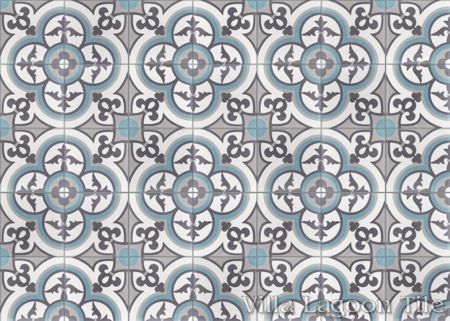 Caprice Celeste cement tile, in a 7x5 layout.
