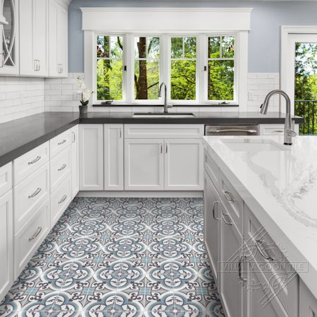 """Caprice Celeste"" cement tile kitchen floor, from Villa Lagoon Tile."