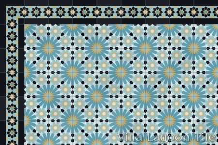 Casablanca cement tile as a border for Tangier cement tile.