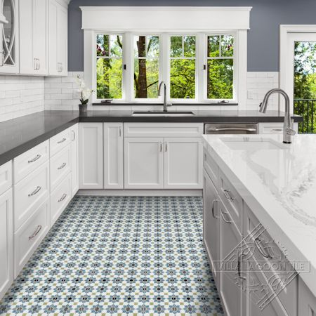 Casablanca Navy cement tile kitchen floor, from Villa Lagoon Tile.