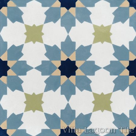 """Casablanca Navy"" Encaustic Cement Tile, from Villa Lagoon Tile."